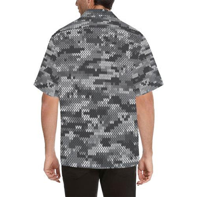 Knit Black White Camo Print Men Hawaiian Shirt