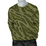 Knit Green Camo Print Men Crewneck Sweatshirt