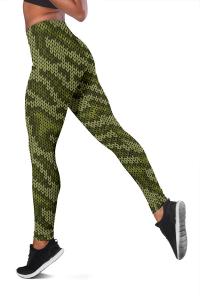 Knit Green Camo Print Women Leggings