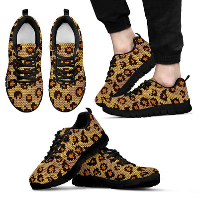 Knit Leopard Print Men Sneakers