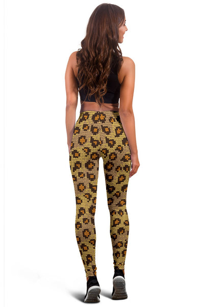 Knit Leopard Print Women Leggings