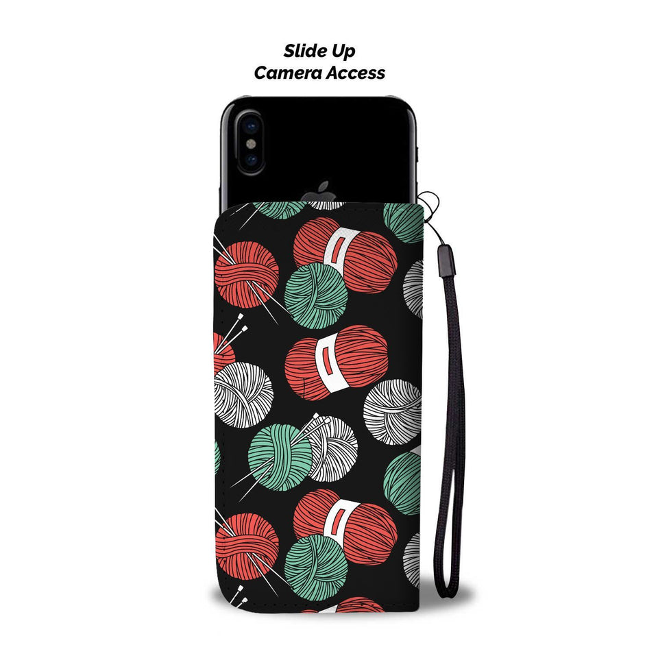 Knitting Crochet Yarn Wallet Phone Case