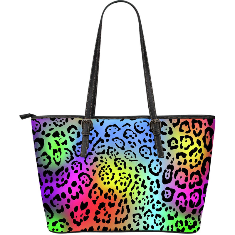 Leopard Rainbow Large Leather Tote Bag