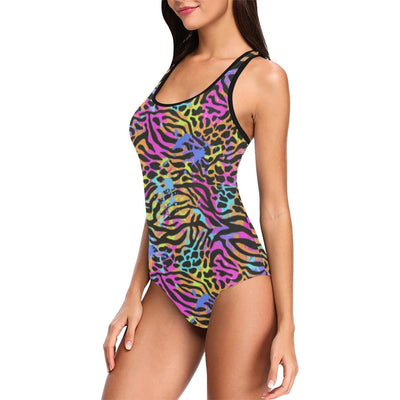 Leopard zebra Animal Neon Women's One Piece Swimsuit (Model S04)