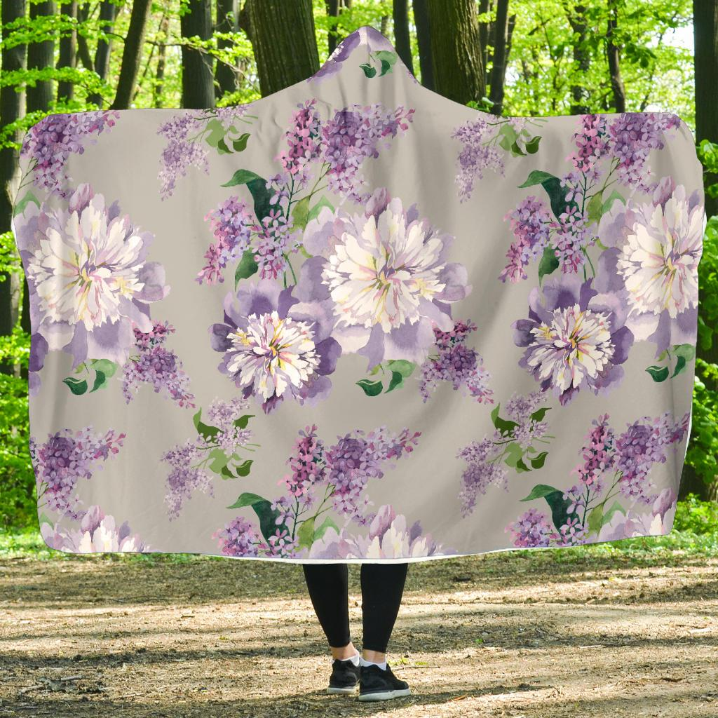 Lilac Pattern Print Design LI07 Hooded Blanket-JORJUNE.COM