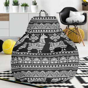 Llama Aztec Style Pattern Print Design 01 Bean Bag Chair-JORJUNE.COM
