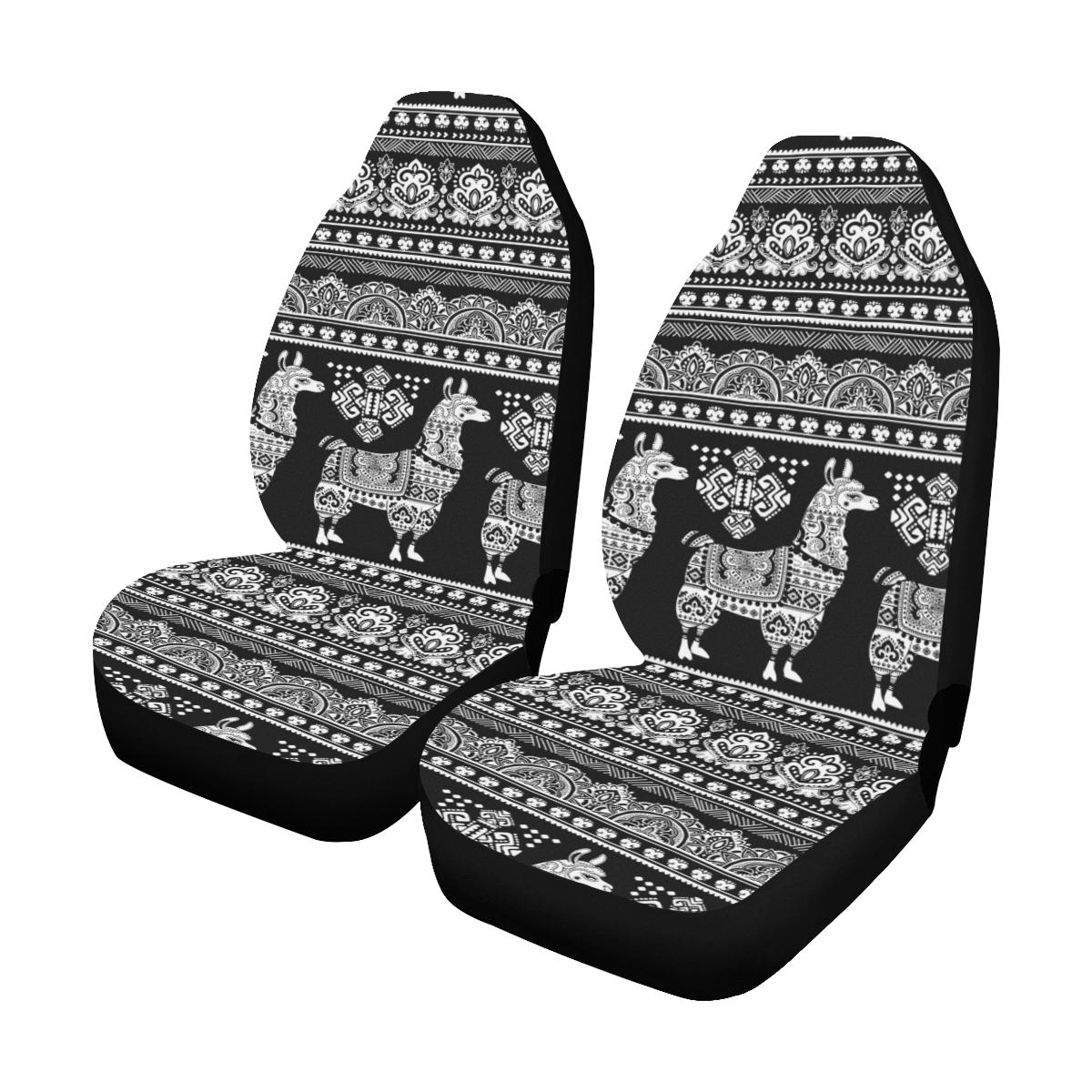 Llama Aztec Style Pattern Print Design 01 Car Seat Covers (Set of 2)-JORJUNE.COM
