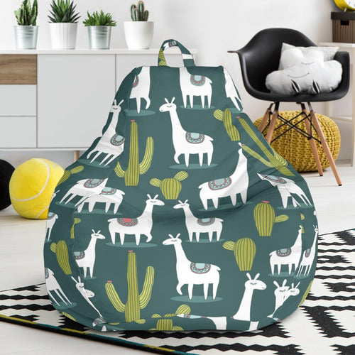 Llama Cactus Pattern Print Design 02 Bean Bag Chair-JORJUNE.COM