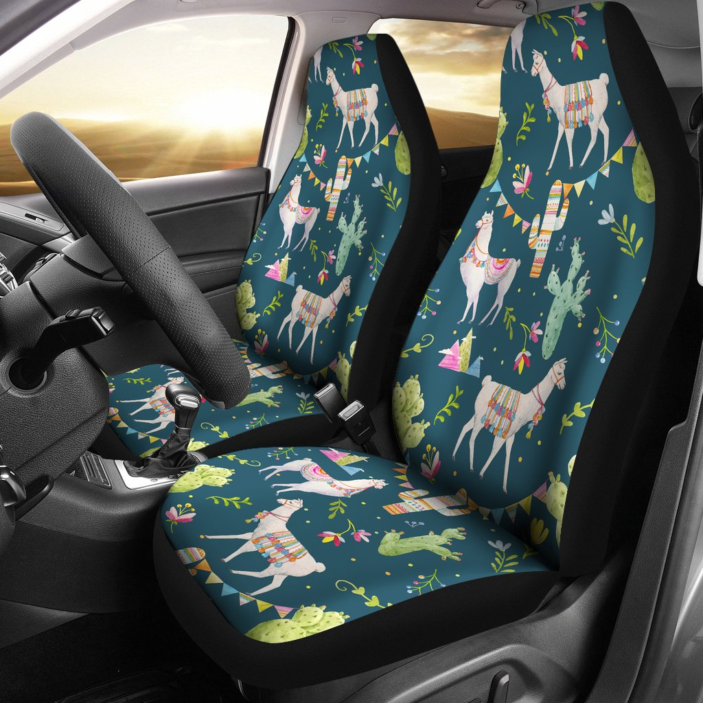Cool Llama With Cactus Design Print Universal Fit Car Seat Covers Gmtry Best Dining Table And Chair Ideas Images Gmtryco