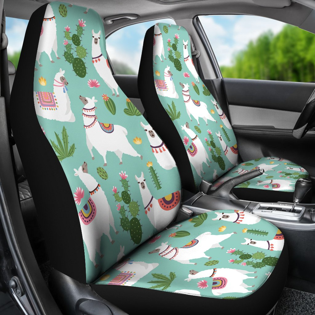 Incredible Llama With Cactus Themed Print Universal Fit Car Seat Covers Gmtry Best Dining Table And Chair Ideas Images Gmtryco