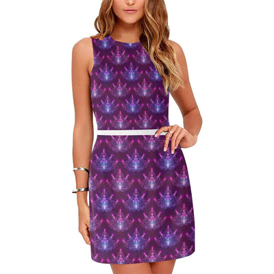 lotus Pattern Print Design LO01 Sleeveless Mini Dress-JorJune