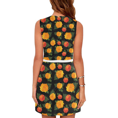Marigold Pattern Print Design MR05 Sleeveless Mini Dress-JorJune