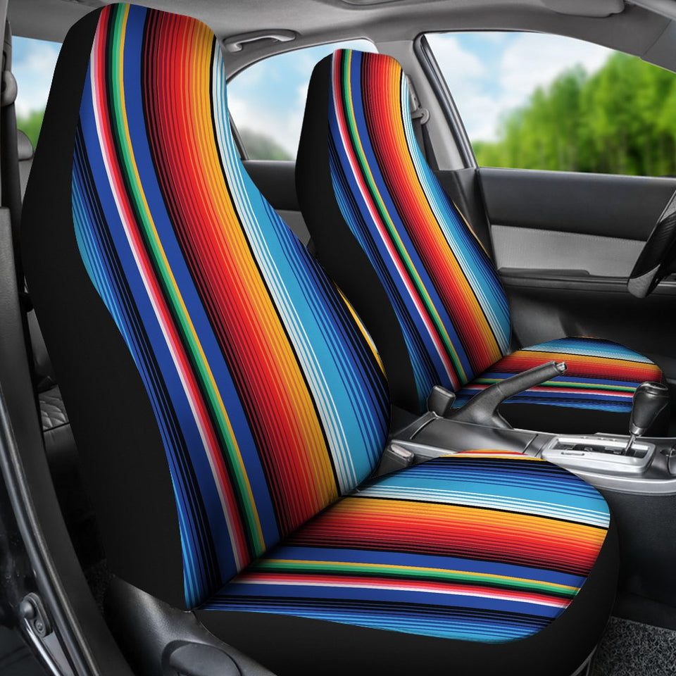 Mexican Blanket Stripe Print Pattern Universal Fit Car Seat Covers