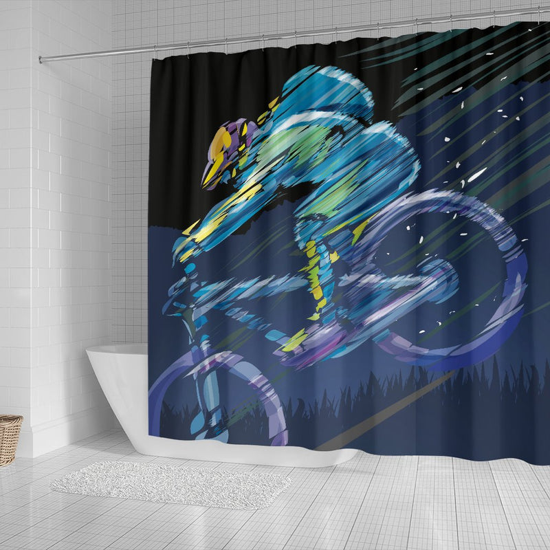 Mountain Bike Downhill Shower Curtain