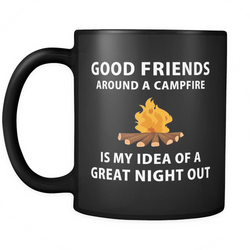 Mug good friends around a campfire camping camp1131