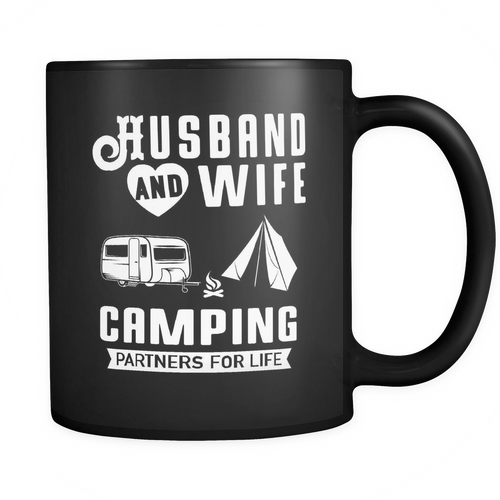 Mugs 11oz black Camping partners for life CAMP2063