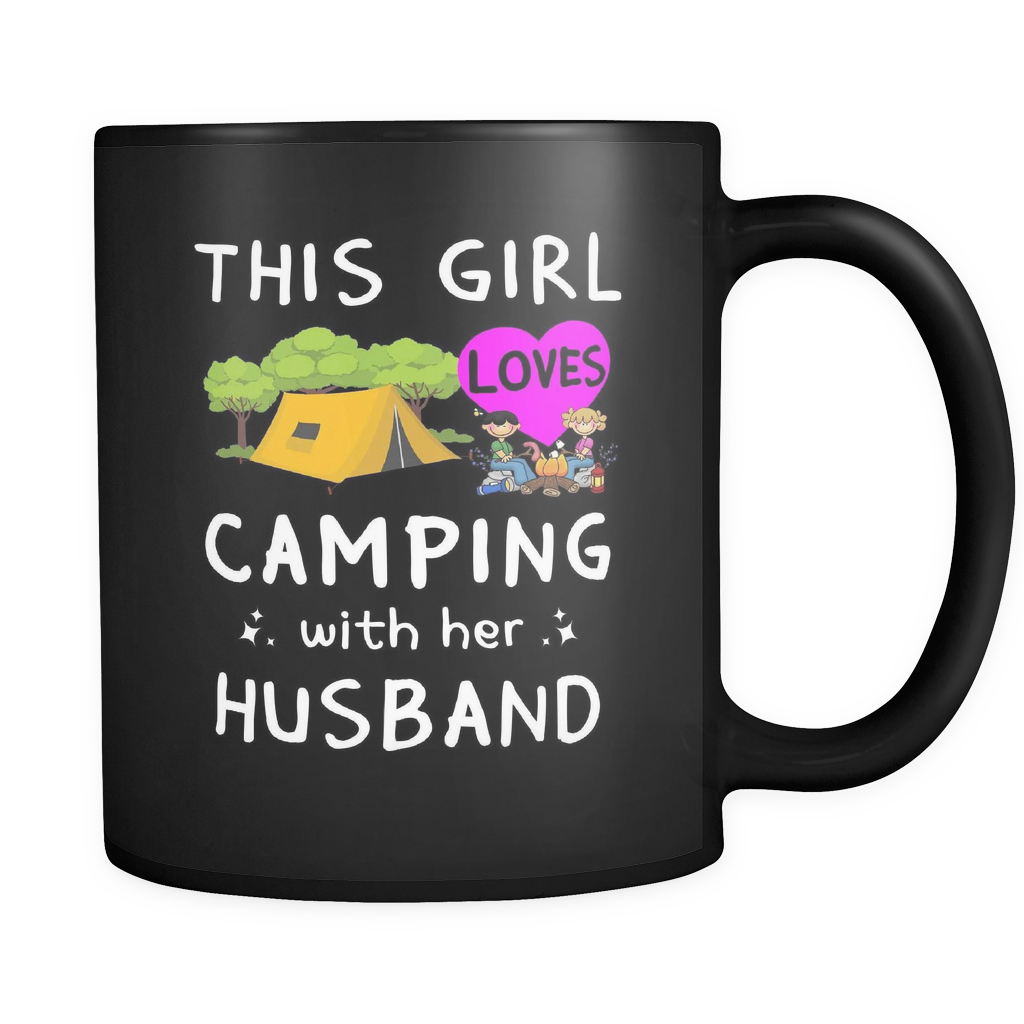 Mugs 11oz Black ceramic girl boy camping with husband wife cups coffee camp2075