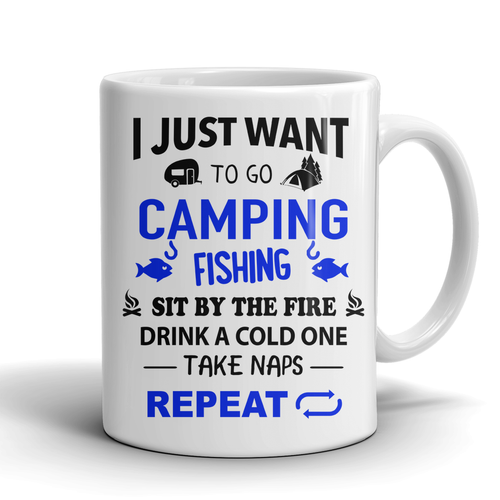 Mugs 11oz camping fishing repeat CAMP2017