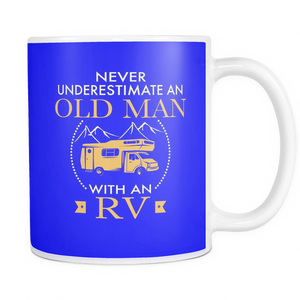 Mugs 11oz color old man with an RV camping CAMP2033