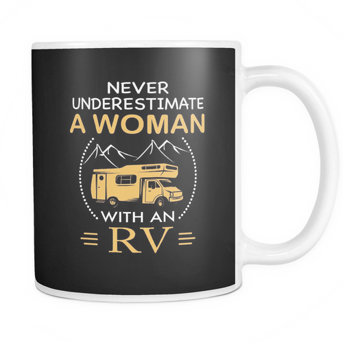 Mugs 11oz color woman with an RV camping CAMP2034