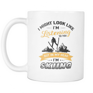 Mugs 11oz in my head i'm skiing ski cups coffee ski2001