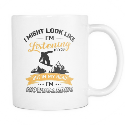 Mugs 11oz in my head i'm snowboarding snowboard cups coffee snb2004