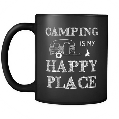 Mugs black 11oz camping is my happy place camp2092