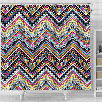 Multicolor zigzag Tribal Aztec Shower Curtain
