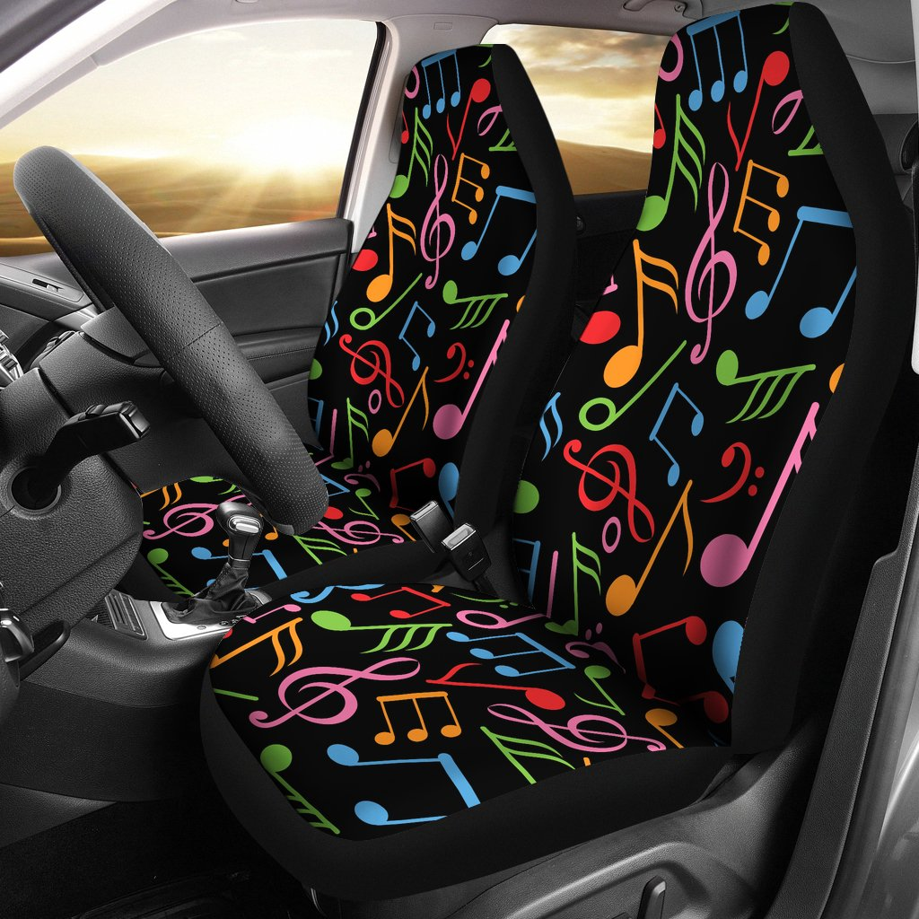 Music Note Colorful Themed Print Universal Fit Car Seat Covers