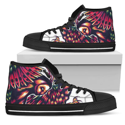 Mythical Owl Geometric Women High Top Canvas Shoes
