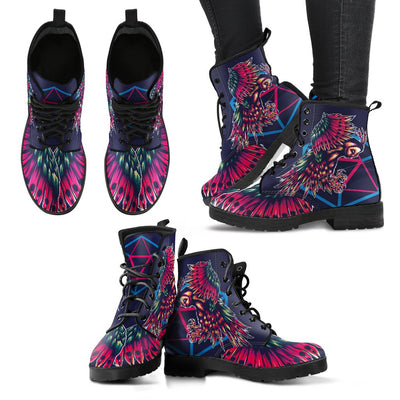 Mythical Owl Geometric Women & Men Leather Boots