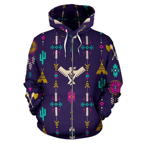 Native American Eagle Indian Pattern All Over Zip Up Hoodie