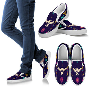Native American Eagle Indian Pattern Men Canvas Slip On Shoes