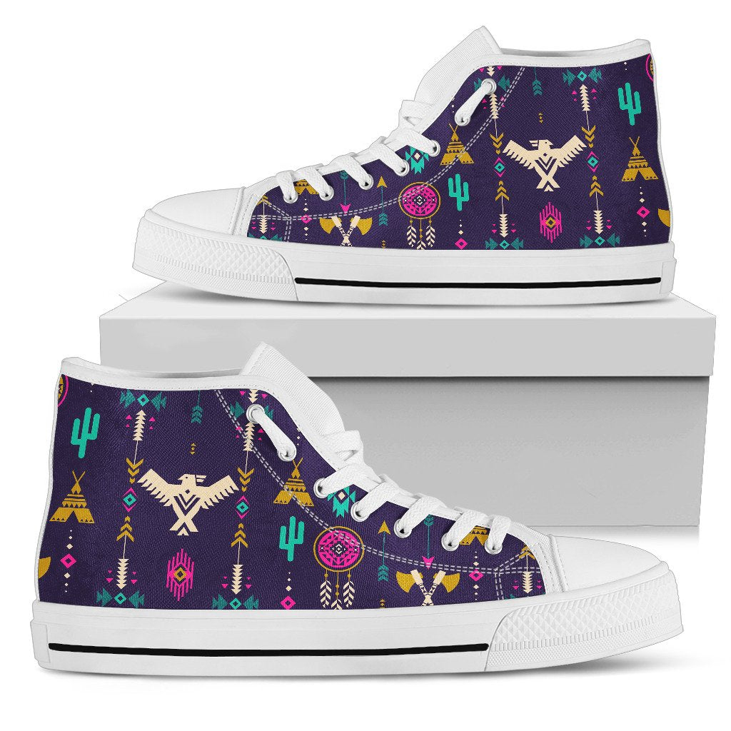 Native American Eagle Indian Pattern Men High Top Canvas Shoes