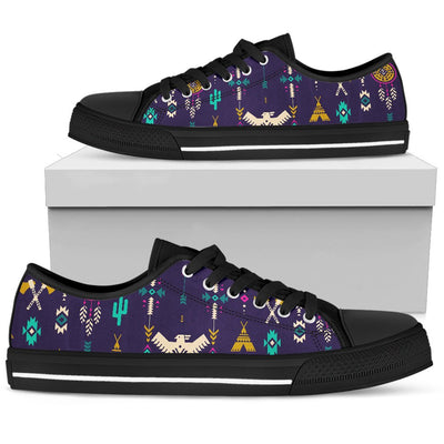 Native American Eagle Indian Pattern Men Low Top Shoes