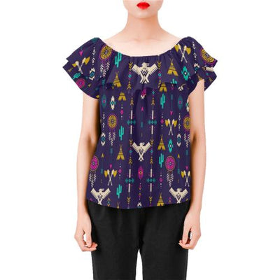 Native American Eagle Indian Pattern Off Shoulder Ruffle Blouse