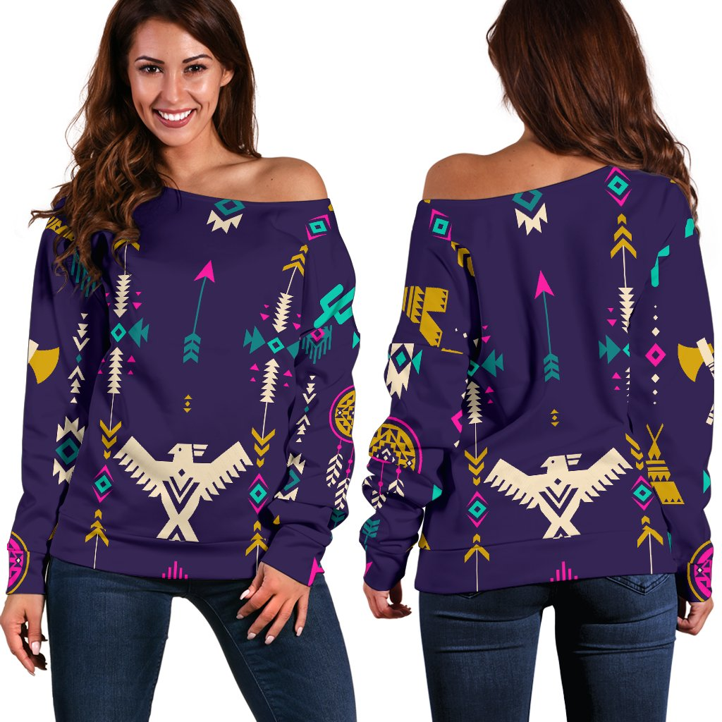 Native American Eagle Indian Pattern Off Shoulder Sweatshirt