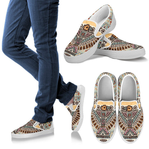 Native American Eagle Pattern Men Canvas Slip On Shoes