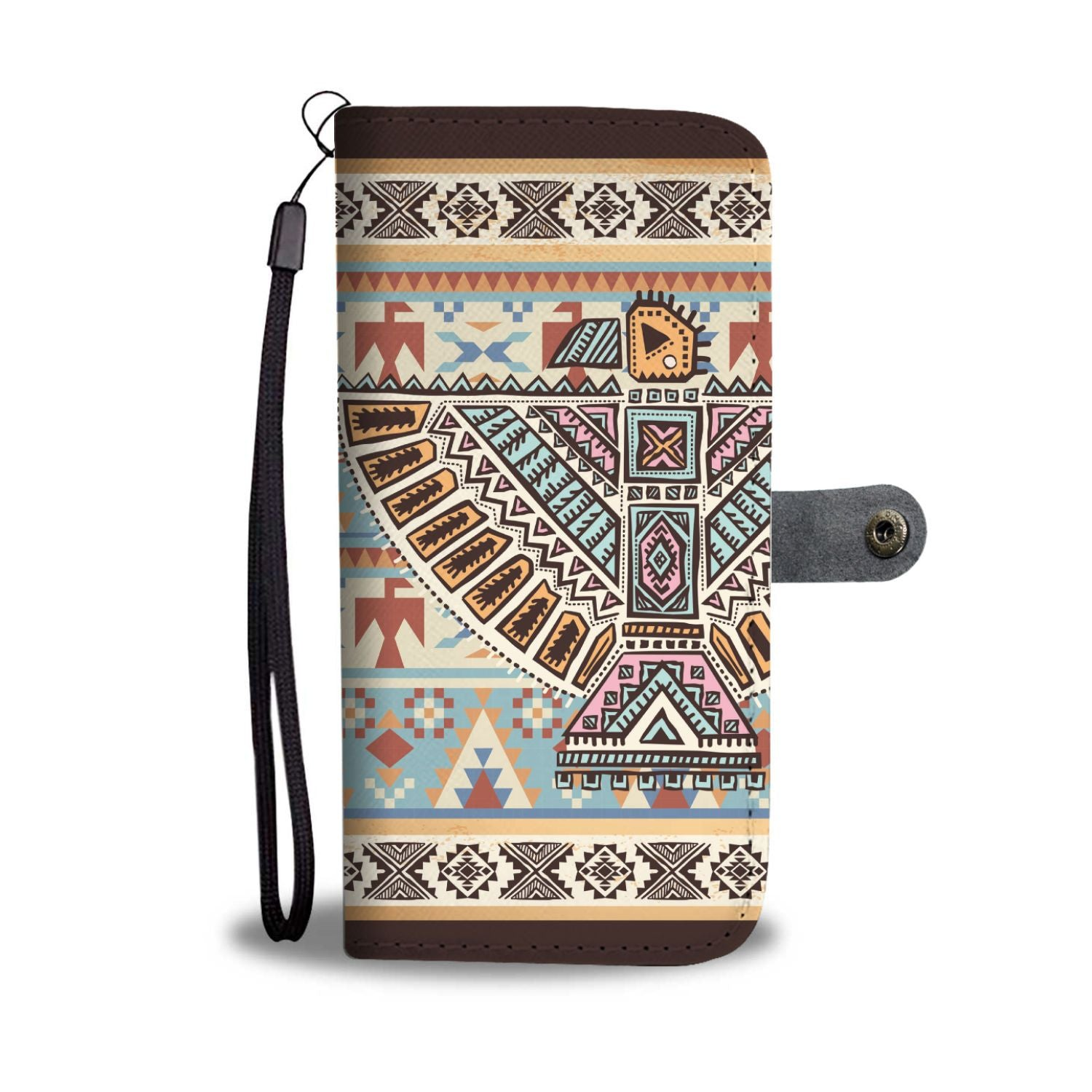 Native American Eagle Pattern Wallet Phone Case