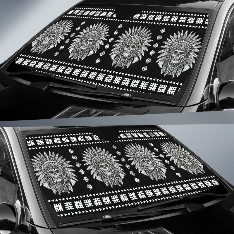 Native American Indian Skull Car Sun Shade-JorJune