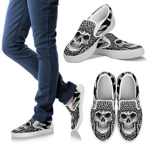 Native American Indian Skull Men Canvas Slip On Shoes
