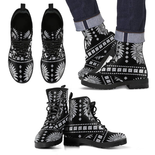 Native American Indian Skull Men Leather Boots