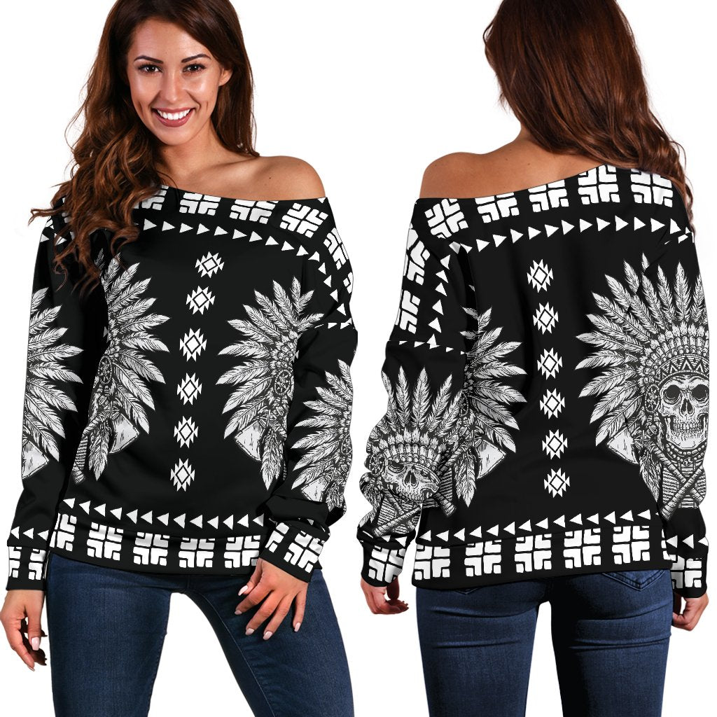Native American Indian Skull Off Shoulder Sweatshirt