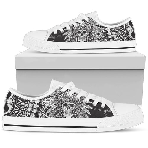 Native American Indian Skull Women Low Top Canvas Shoes
