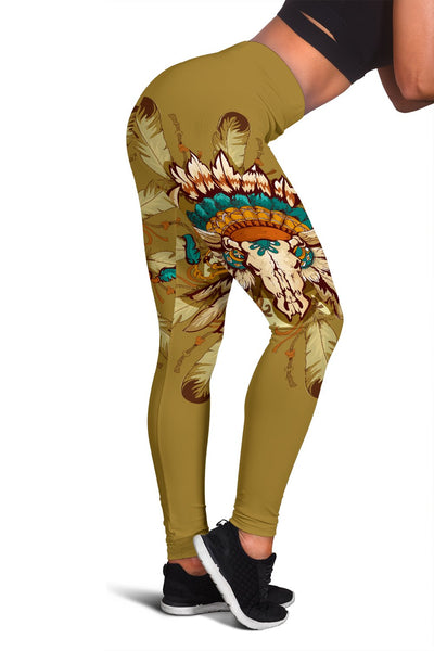 Native Indian Buffalo Head Women Leggings