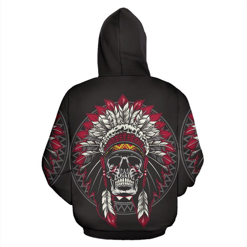 Native Indian Skull All Over Zip Up Hoodie