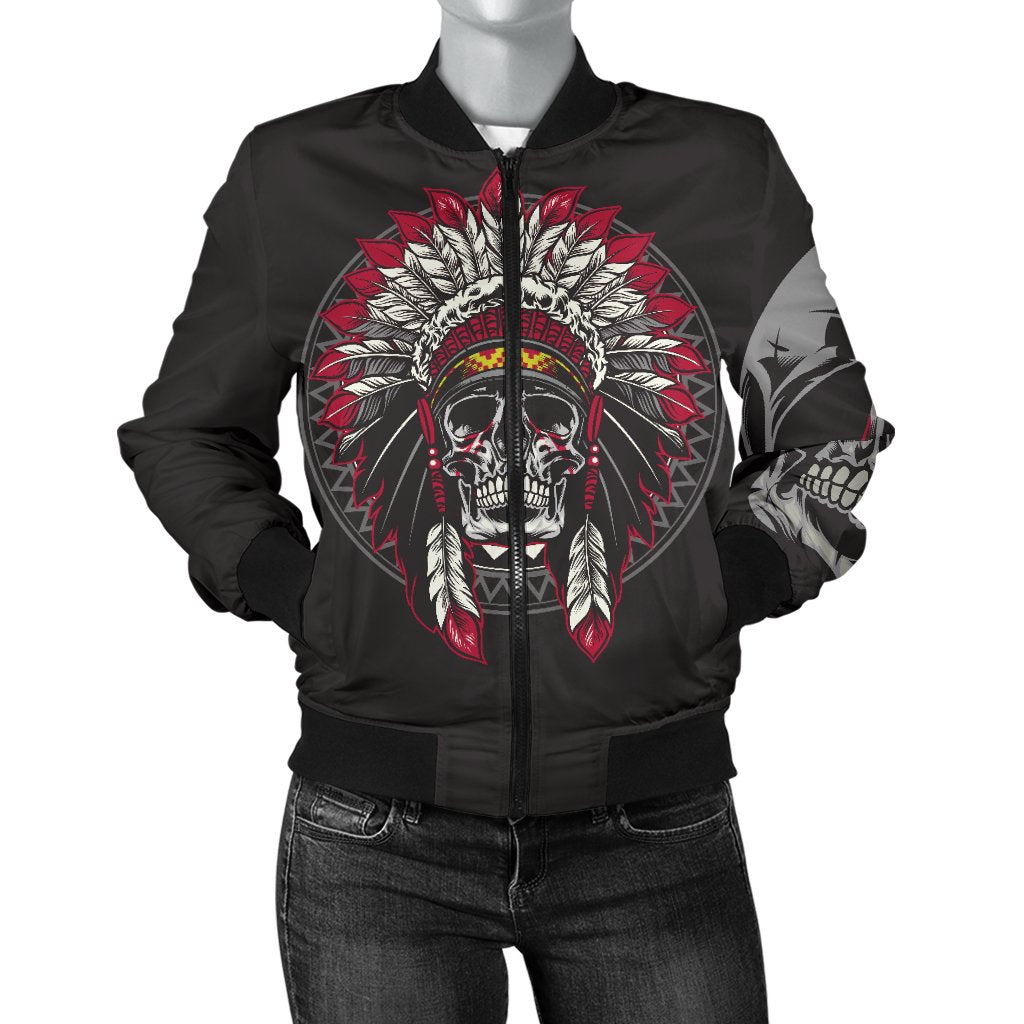 Native Indian Skull Women Casual Bomber Jacket