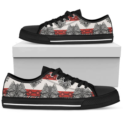 Native Indian Wolf Men Low Top Shoes