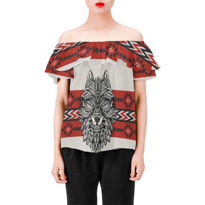 Native Indian Wolf Off Shoulder Ruffle Blouse