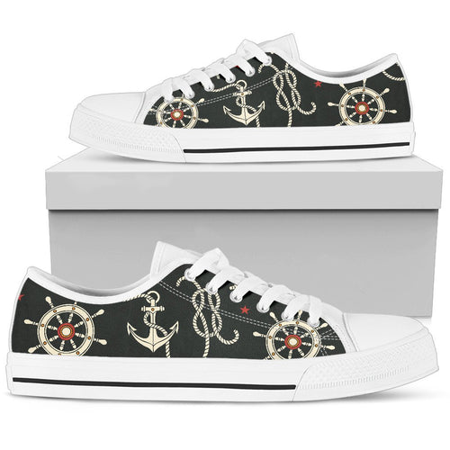 Nautical Anchor Pattern Men Low Top Shoes
